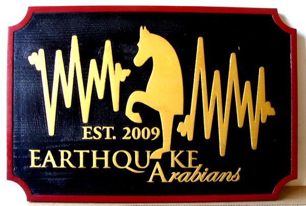 """P25102 - Carved Cedar Entrance Sign for """"Earthquake Arabians"""" Equine Farm"""