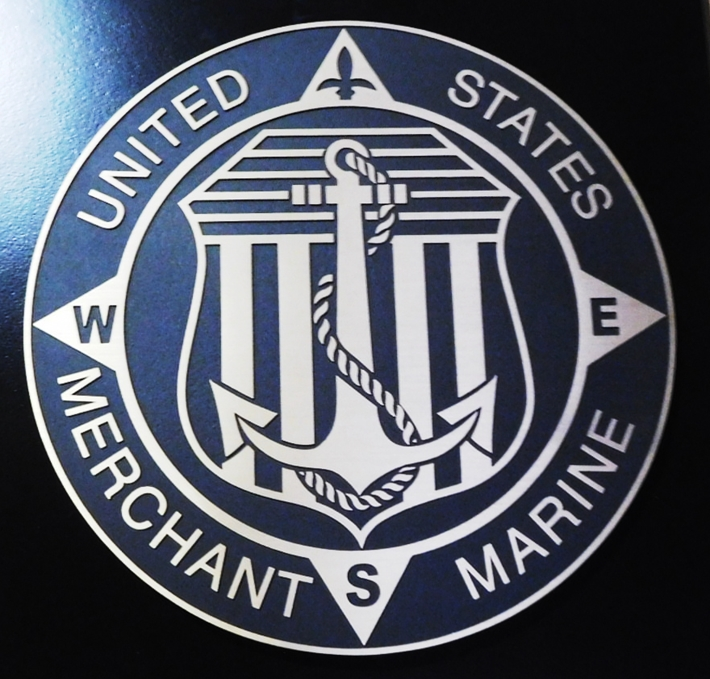 NP-2332 - Carved Plaque of the Seal of the US Merchant Marine, 2.5D Painted with Metallic Silver and Navy Blue