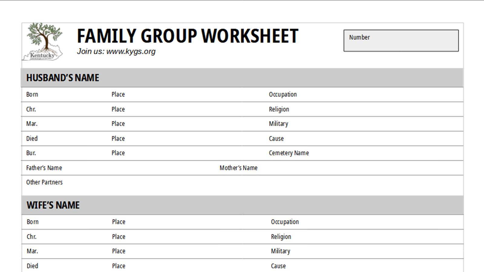 Family Group Sheet