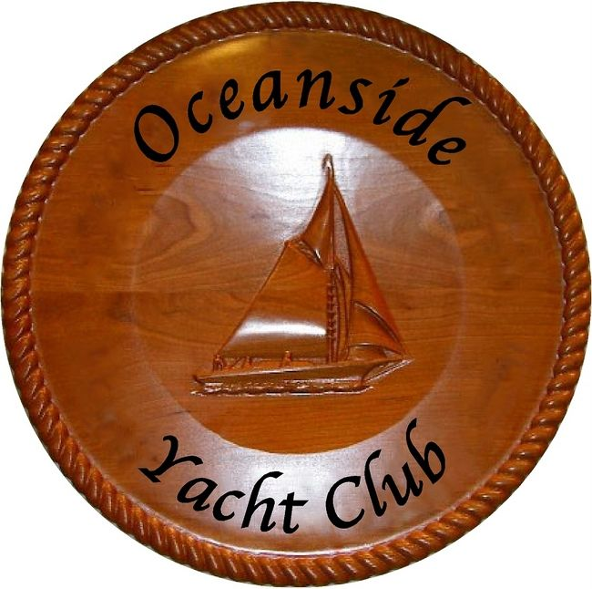M3008 - Carved Round Mahogany Plaque for Yacht Club (Gallery 20)