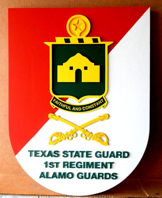 "MP-2085 - Carved Plaque of the Insignia of the Texas State Guard ""Alamo Guards"",  Artist Painted"