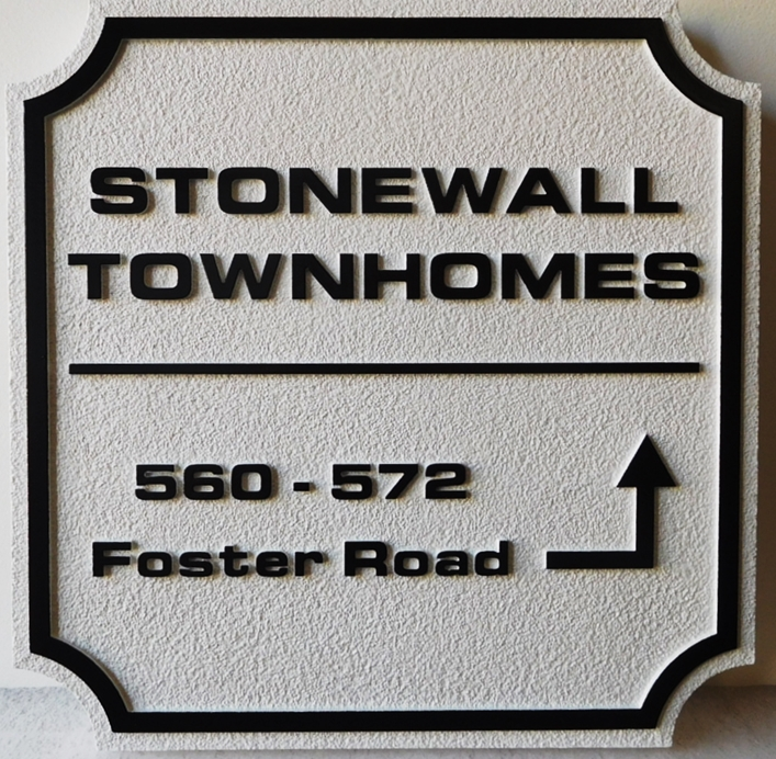 KA20953 - Elegant Carved  Stonewall Townhomes  Address and Wayfinding  Sign , 2.5-D with Sandblasted Background