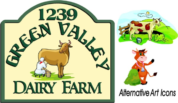 O24165 - Design of Dairy Farm Sign with Alternative Cow Art Icons