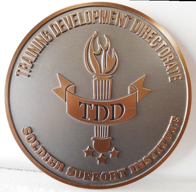 MP-2615 - Carved Plaque of the Crest/Insignia  of a US Army Training Development Directorate, Soldier Support Institute, 2.5D Bronze Plated