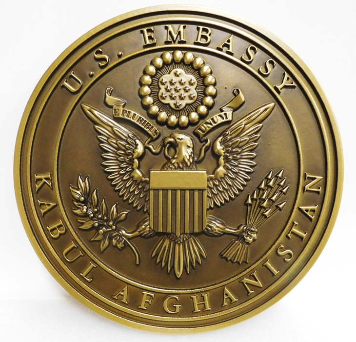 AP-3690 - Carved Seal of the Seal of the US Embassy, Kabul, Afghanistan, Brass-Plated with Patina on Background
