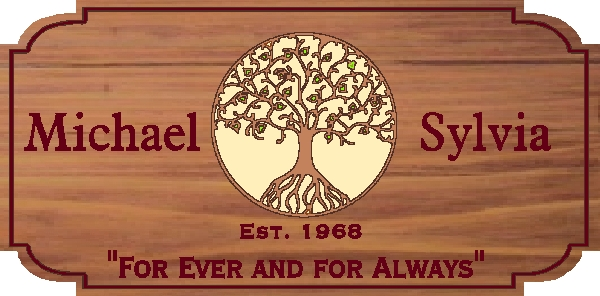 "N23062 - Custom Engraved Married Couple  Wall Plaque, with ""Tree of Life"""