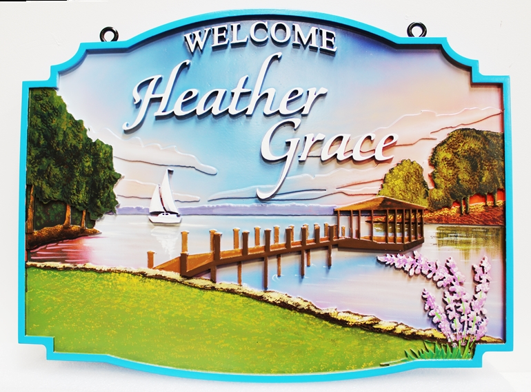 """I18701 - Beautiful Carved High-Density-Urethane (HDU) Property Name Sign , """"Welcome to Heather Grace"""", with an Artist Painted Scene of a Sailboat and Pier on a Lake."""