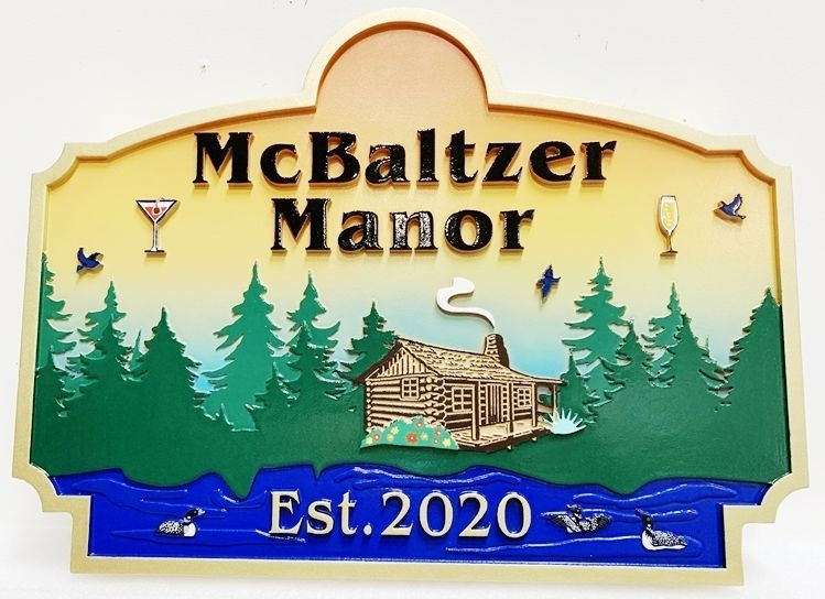 "M22363 - Carved  2.5-D Multi-level Relief HDU Cabin Name Sign ""McBaltzer Manor"", with a Lake, Cabin and an Evergreen Forest as Artwork."
