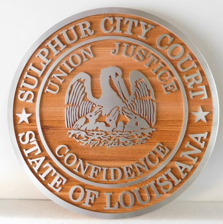HP-1100 - Carved Plaque of the Seal of the Sulphur City Court, Louisiana, Aluminum  on Cedar Wood