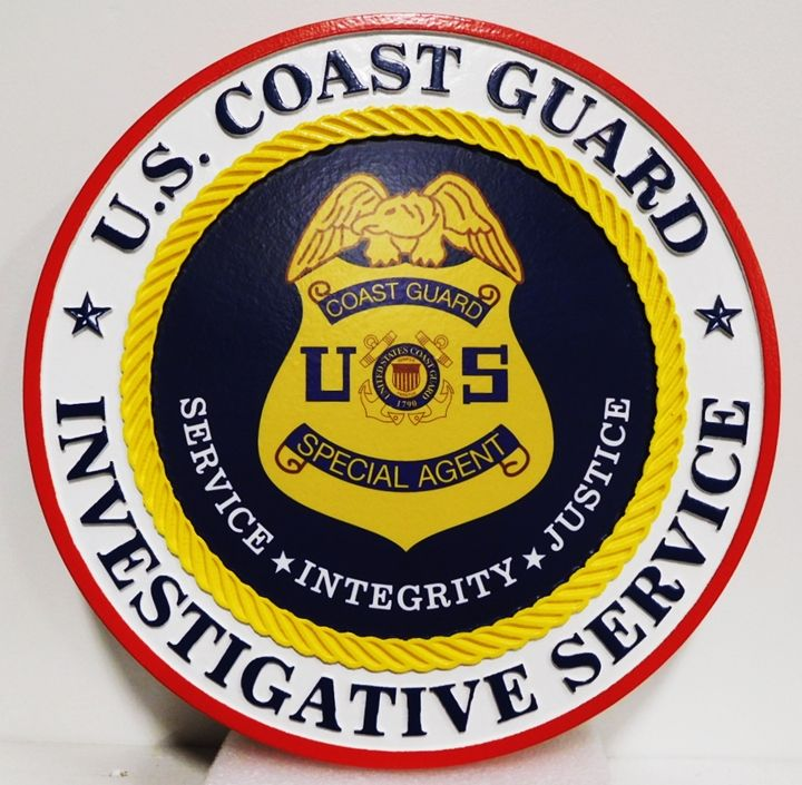 PP-1545 - Carved Plaque of the Badge of the US Coast Guard Investigative Services, Artist-Painted with Giclee Applique