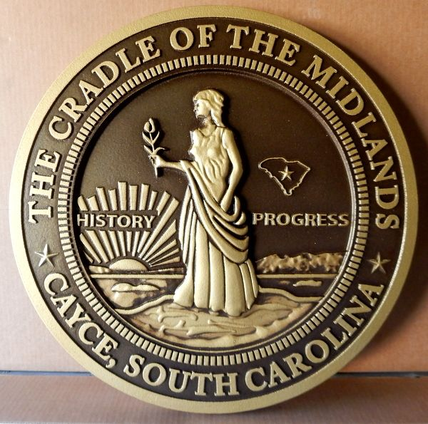 X33036 - Carved 3-D Wall Plaque of Seal of the City of Cayce,  South Carolina (dark patina background version)