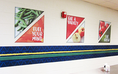 Food murals in triangle shape, 6 signs with healthy images and messages, custom signs