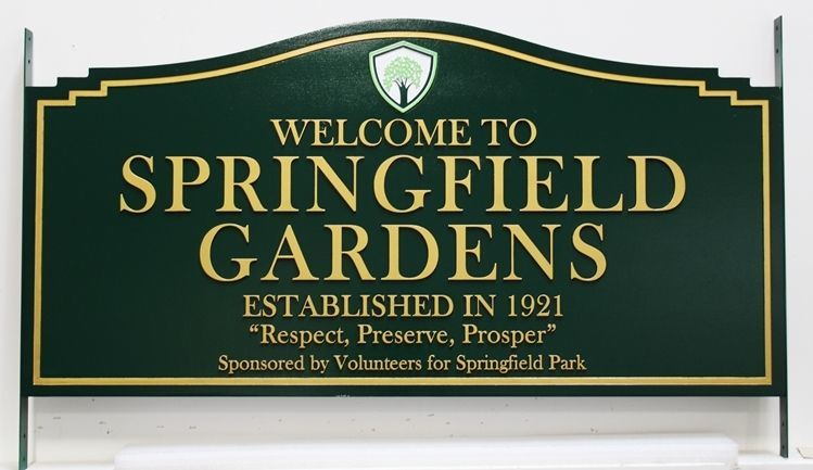 GA16414 -  Carved 2.5-D  Sign for Springfield Gardens, with a Tree on a Shield as Artwork