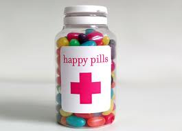 "This is a picture of a bottle filled with ""happy pills"""