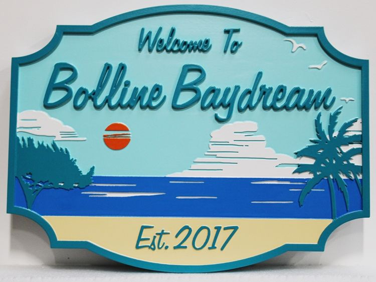 "L21052 - Carved 2.5D Multi-level Raised Relief   Beach House Sign, ""Boline Baydream"", Featuring a Beach, Palm Trees, and Clouds as Artwork"