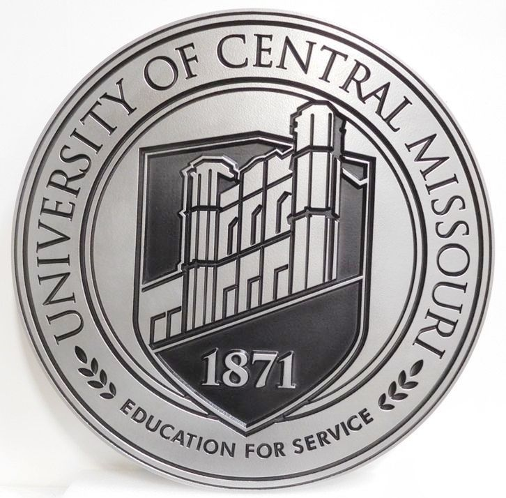 RP-1510 - Carved Plaque of the Seal of the University of Central Missouri, 2.5D Engraved Aluminum Plated