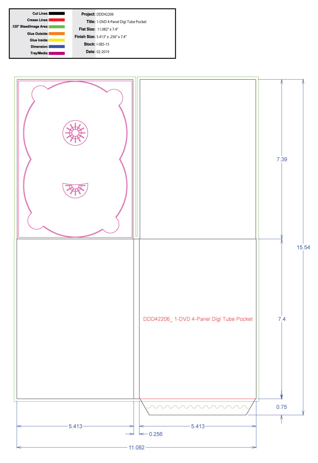 DDD42206 DVD 4 Panel Digi 1 Tray, Tube Pocket