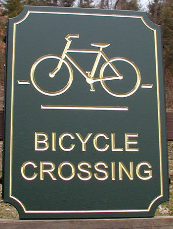 H17537- Bicycle Crossing Sign (Raised Text)