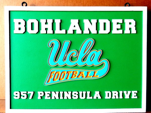 I18666 - Carved HDU Residence Name and Address Sign, with UCLA Football Logo