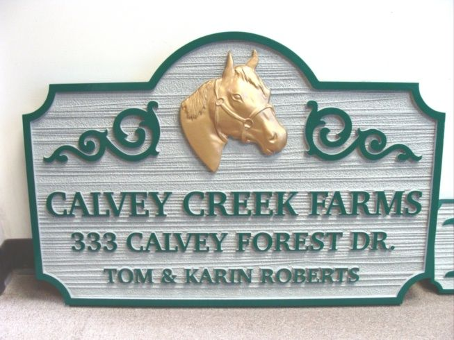 O24208 - Carved and Sandblasted HDU  Sign for Calvey Creek Farms