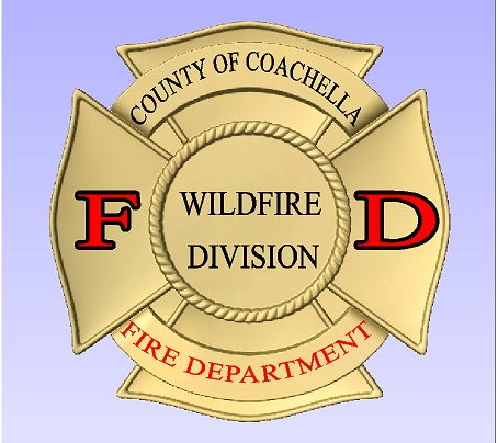 X33512 - Carved Wood Wall Plaque of the Badge of the Fire Department (Wildfire Division) of Coachello County