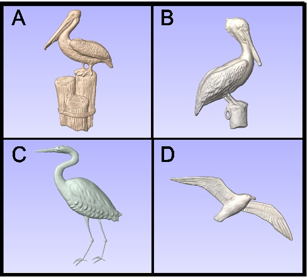 L22044 - 3-D Carved Sea Birds (Pelicans, Blue Heron, Seagull)