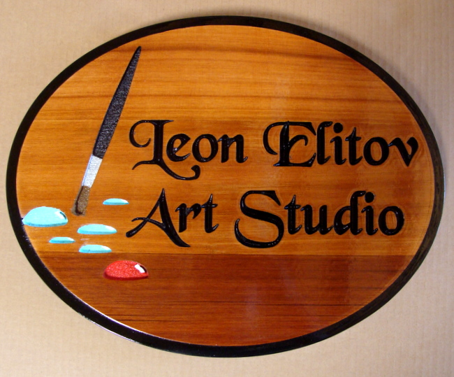 "SA28411 - Engraved Cedar Wood Sign for  ""Leon Elitov Art Studio"" with Paint Brush and Paint as Artwork"