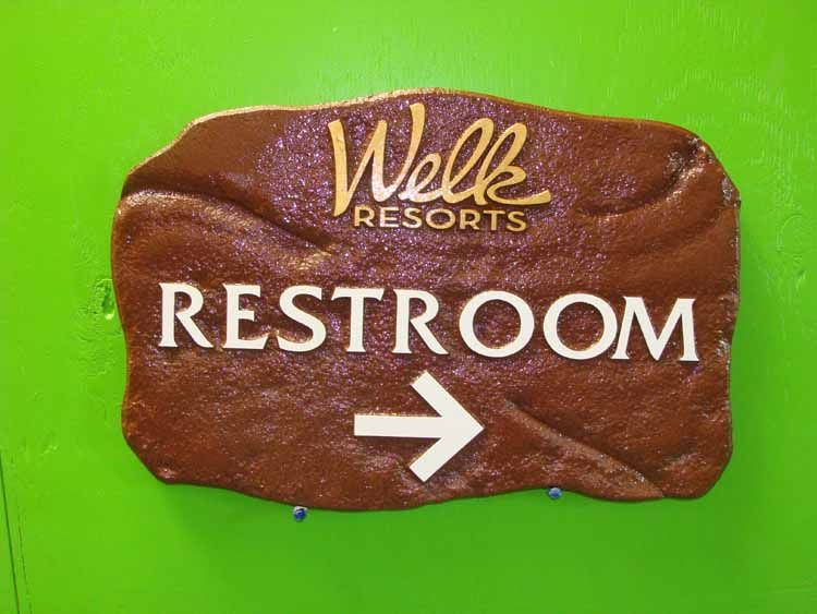 GB16792 - Carved, Stone Look, Directional Sign Made for Lawrence Welk Resorts with Directional Arrow for Restroom, Lawrence Welk Resort