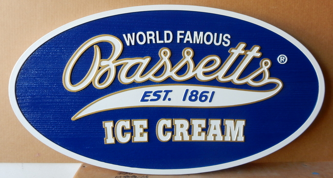 SA28054 - Sandblasted High Density Urethane Sign with Wood-Grain Look for Bassett's Ice Cream Store