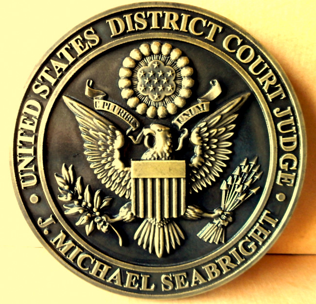 M7152 - Brass Wall Plaque for US District Court Judge with US Great Seal