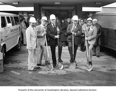 Groundbreaking for the Esfeld addition to the Caroline Kline Galland Home, 1975