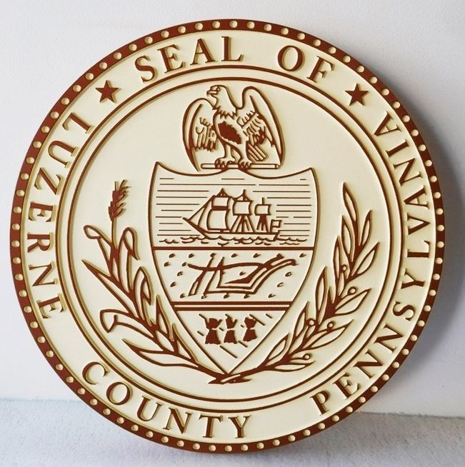 CP-1312 - Carved Plaque of the Seal of Luzerne County, Pennsylvania,   Artist Painted