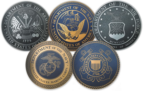 V31190 - Engraved or Etched Aluminum Wall Plaques for all Five Military Services