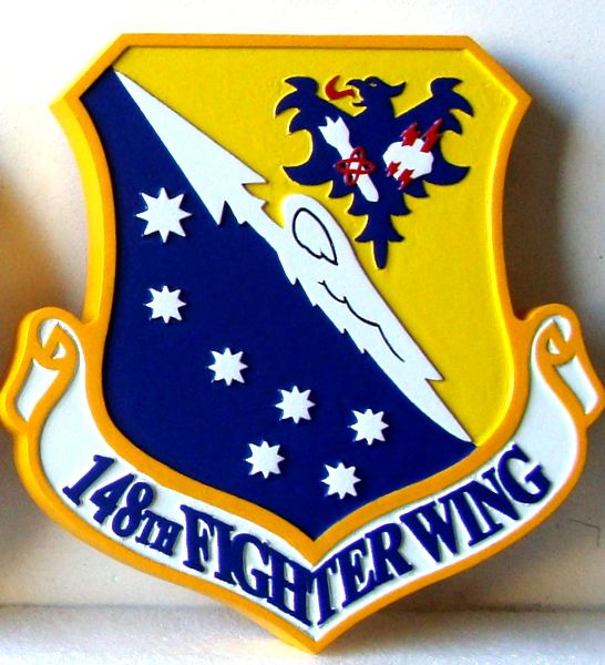 V31584 - Carved Wooden Wall Plaque of the Shield and Crest of the 148th Fighter Wing of the USAF