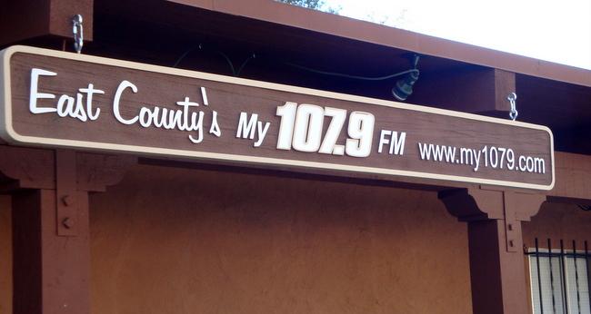 SA28587 - Hanging Carved Wood-Grain  Sign for Radio Station
