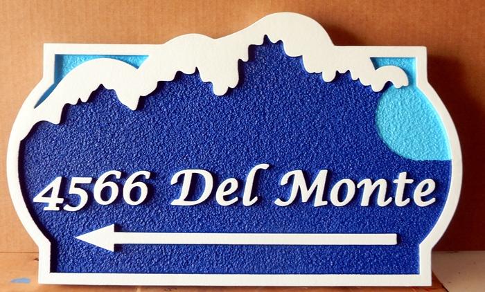 L21176 - Carved   Property Address  Sign, with Ocean Surf as Artwork