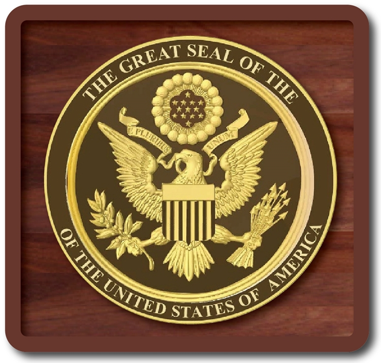 U30051 - Gold and Dark Brown 3D Carved HDU US Great Seal Wall Plaque, mounted on a Mahogany Plaque
