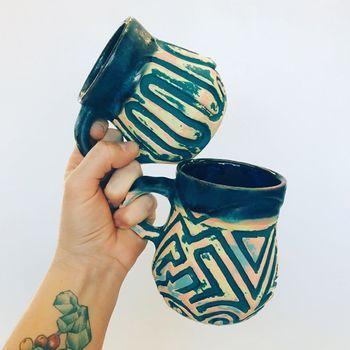Mugs by member and teacher Julia Zunaga