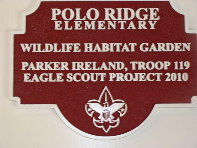 GA16540 - Carved HDU Sign for Elementary School Wildlife Habitat Garden