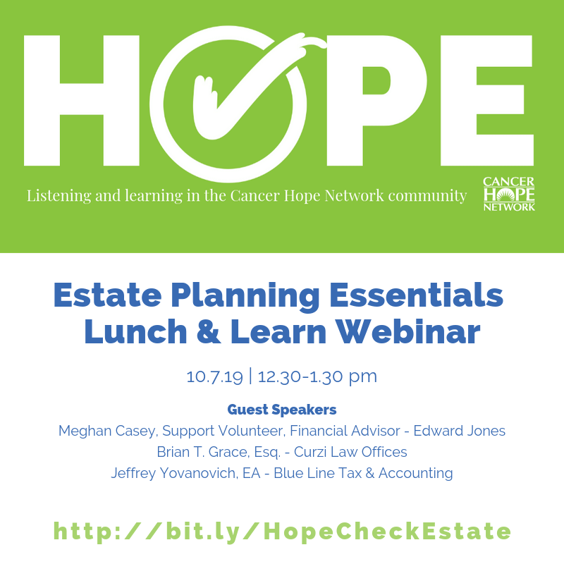 Hope Check Lunch and Learn: Estate Planning Essentials Webinar