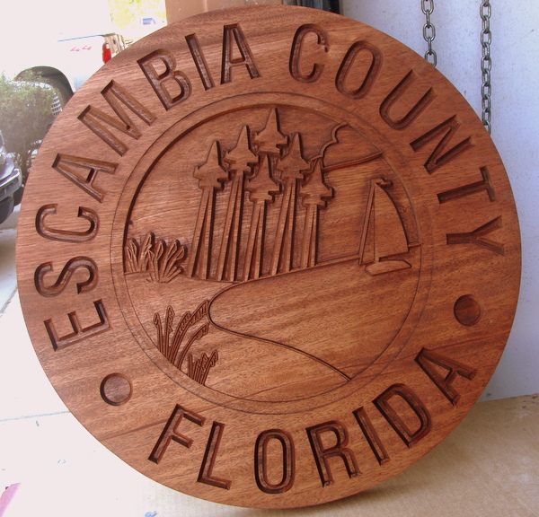 WM1090 - Seal of  Escambia County, Florida, Engraved Stained Mahogany