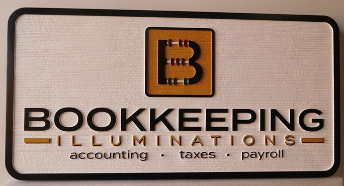 C12062 - Carved HDU Sign for  Bookkeeping Services, 2.5-D  Raised Text and Artwork, Wood Grain Background