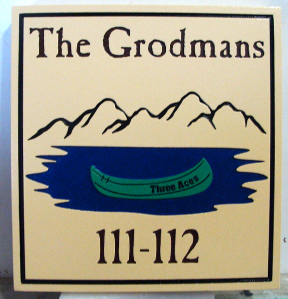 M22340 - Engraved Lake Cottage Address Sign, with Lake, Canoe and Mountains
