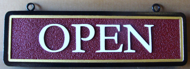 "Q25854 - Sandblasted, Sandstone Texture, HDU Hanging Sign for ""Open"""