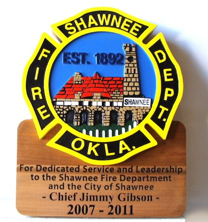 X33892 - 2.5D Carved Wooden Fire Department Wall Plaque, Personalized (Front View)