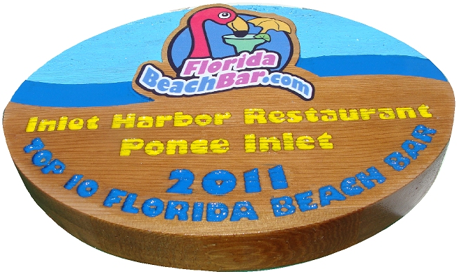 Q25124 -Carved Wood Sign for FloridaBeachBar.com, Inlet Harbor Restaurant with Flamingo Drinking Cocktail