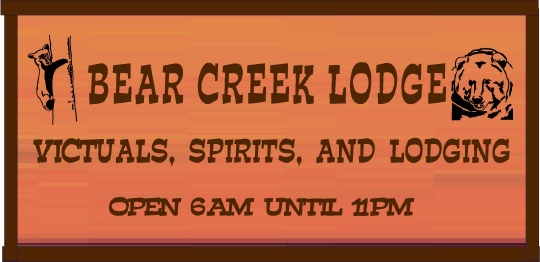 """RB27150 - Carved Redwood  """"Bear Creek Lodge"""" and Saloon Sign with Bears"""