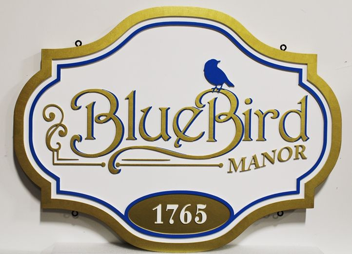 M1625 - Bluebird Manor Property Name and Address Sign (Gallery 18)