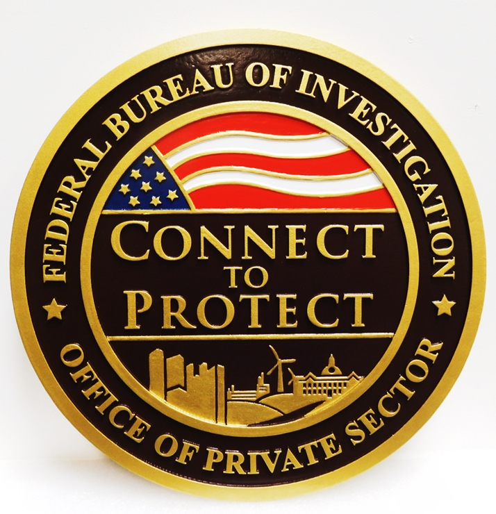 AP-2417 - Carved Wall Plaque  for the Office of Private Sector, Federal Bureau of Investigation, 2.5-D Multi-Level Relief