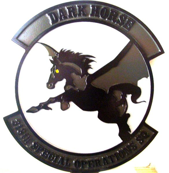 """LP-3780 - Carved Plaque of the Crest of the 318th Special Operations Squadron """"Dark Horse"""", 2.5-D Artist Painted"""